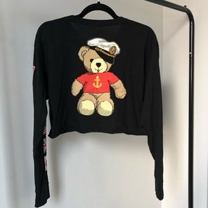 URBAN OUTFITTERS | black teddy crop top